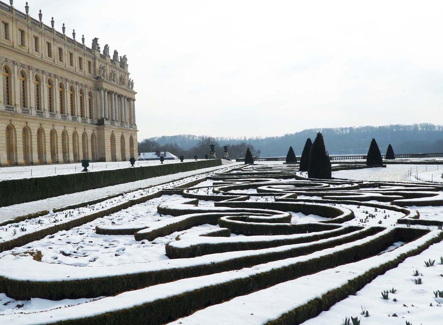 Snow in the gardens at Versailles