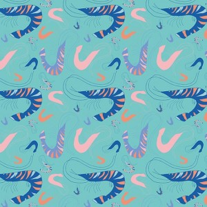 French Riviera SS17 'Leaping Prawn' surface pattern design