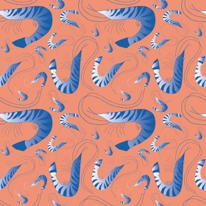 French Riviera SS17 'Leaping Prawn - with Gradient' surface pattern design