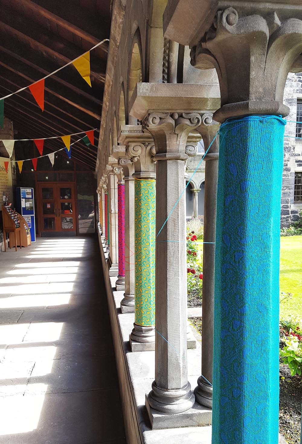 Decorated pillars at the entrance to Paisley Abbey