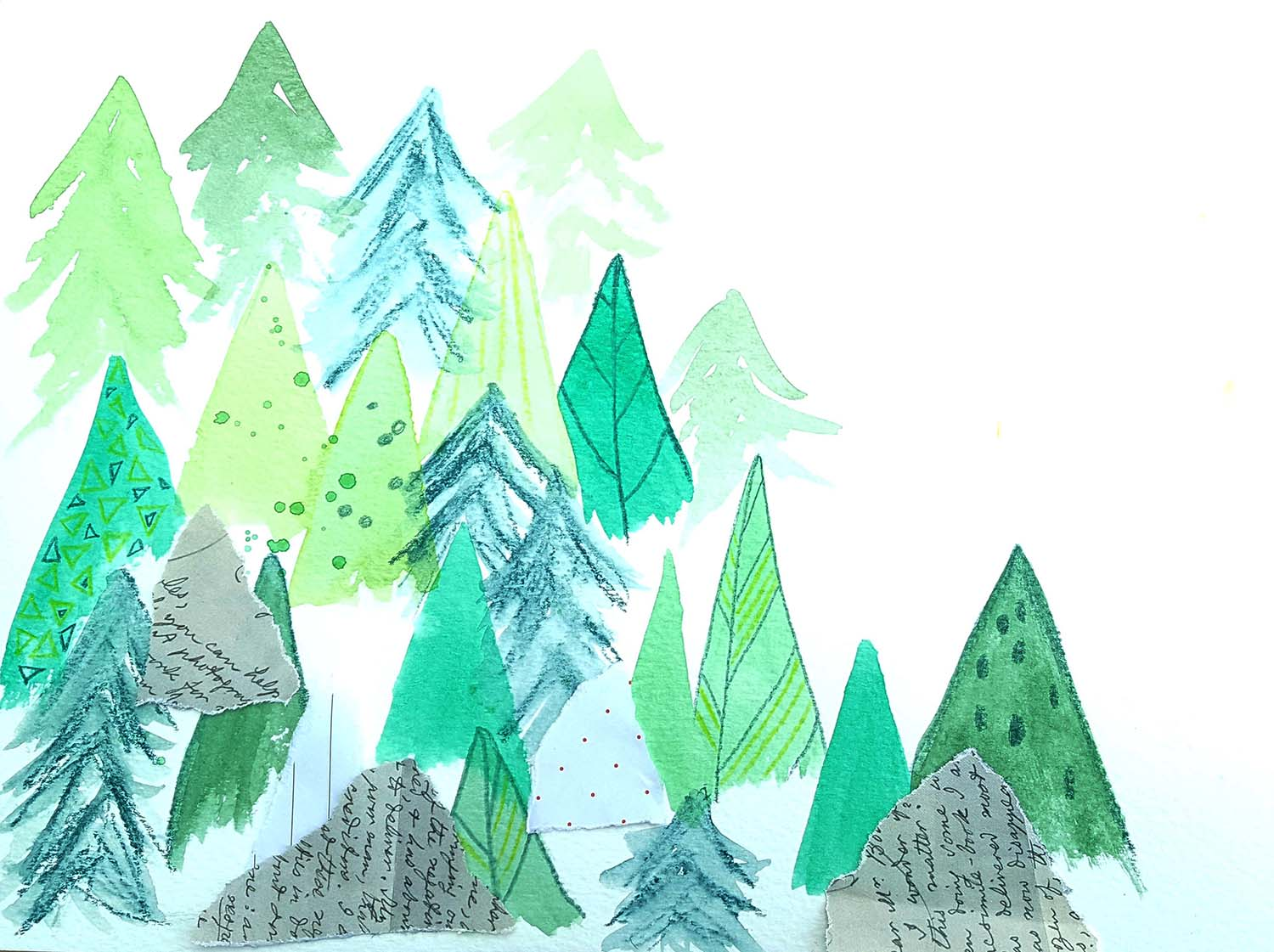 Watercolour & collage forest