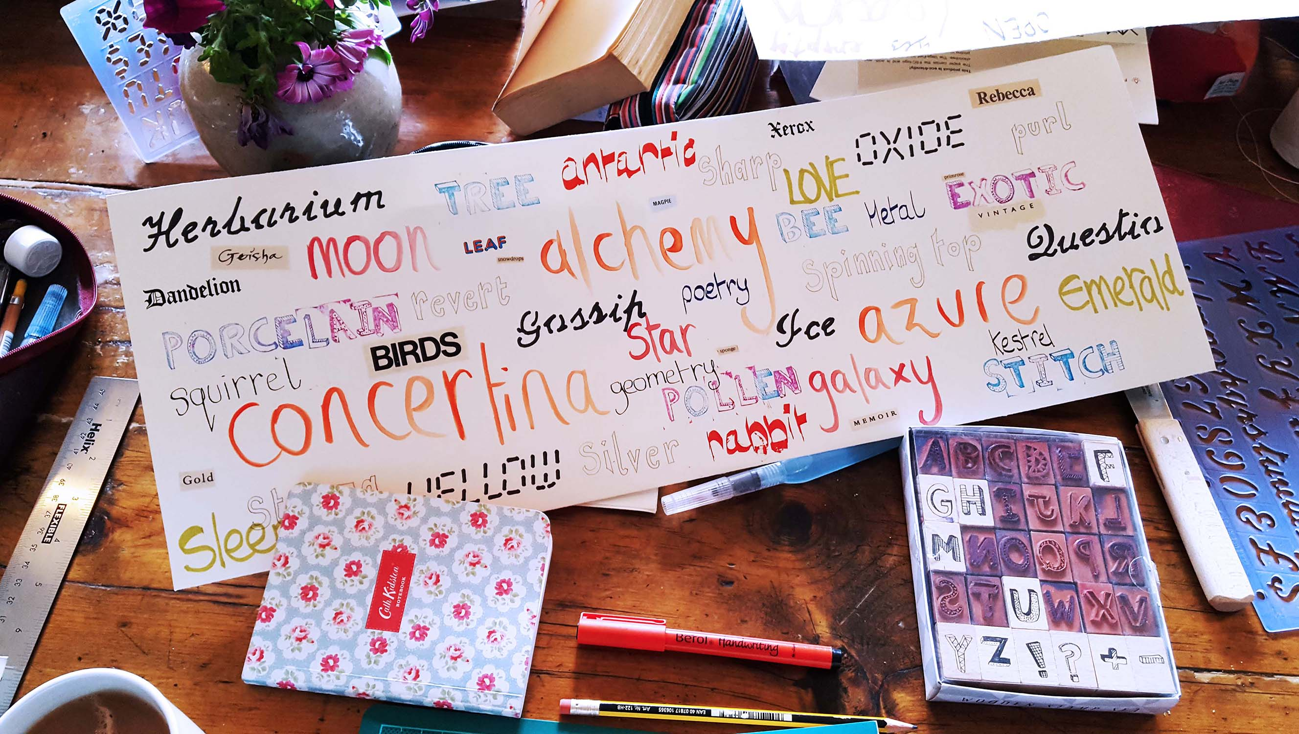 Word-art for a book cover, Book Art course, Lumb Bank, Oct16