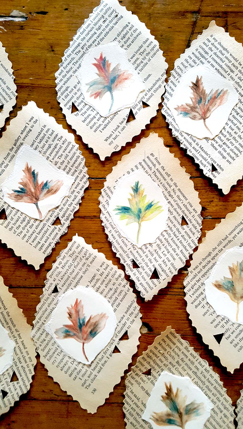Paper Leaves in the making of a 'Leafology', Book Art, Lumb Bank, October 16