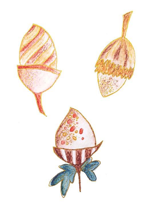 'ACORNS' surface pattern design motif in watercolour