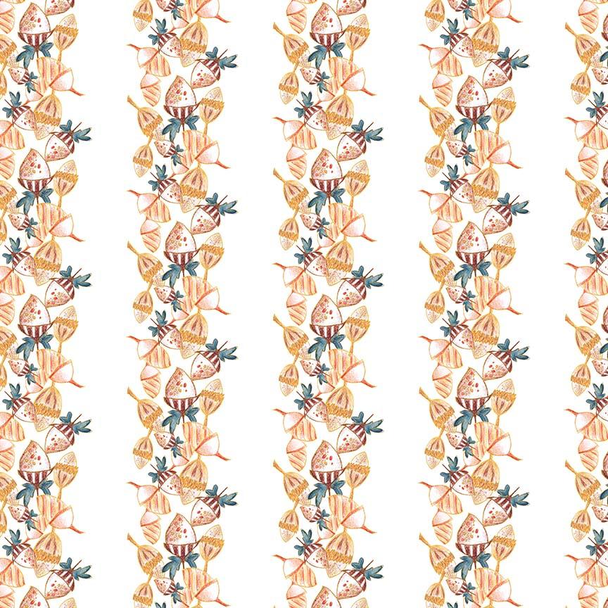'ACORNS' surface pattern design, half-drop repeat