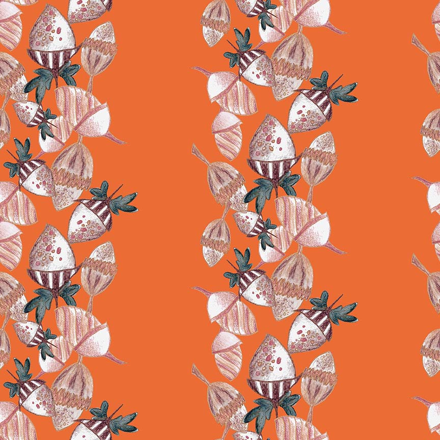 'ACORNS' surface pattern design (burnt sienna), half-drop repeat