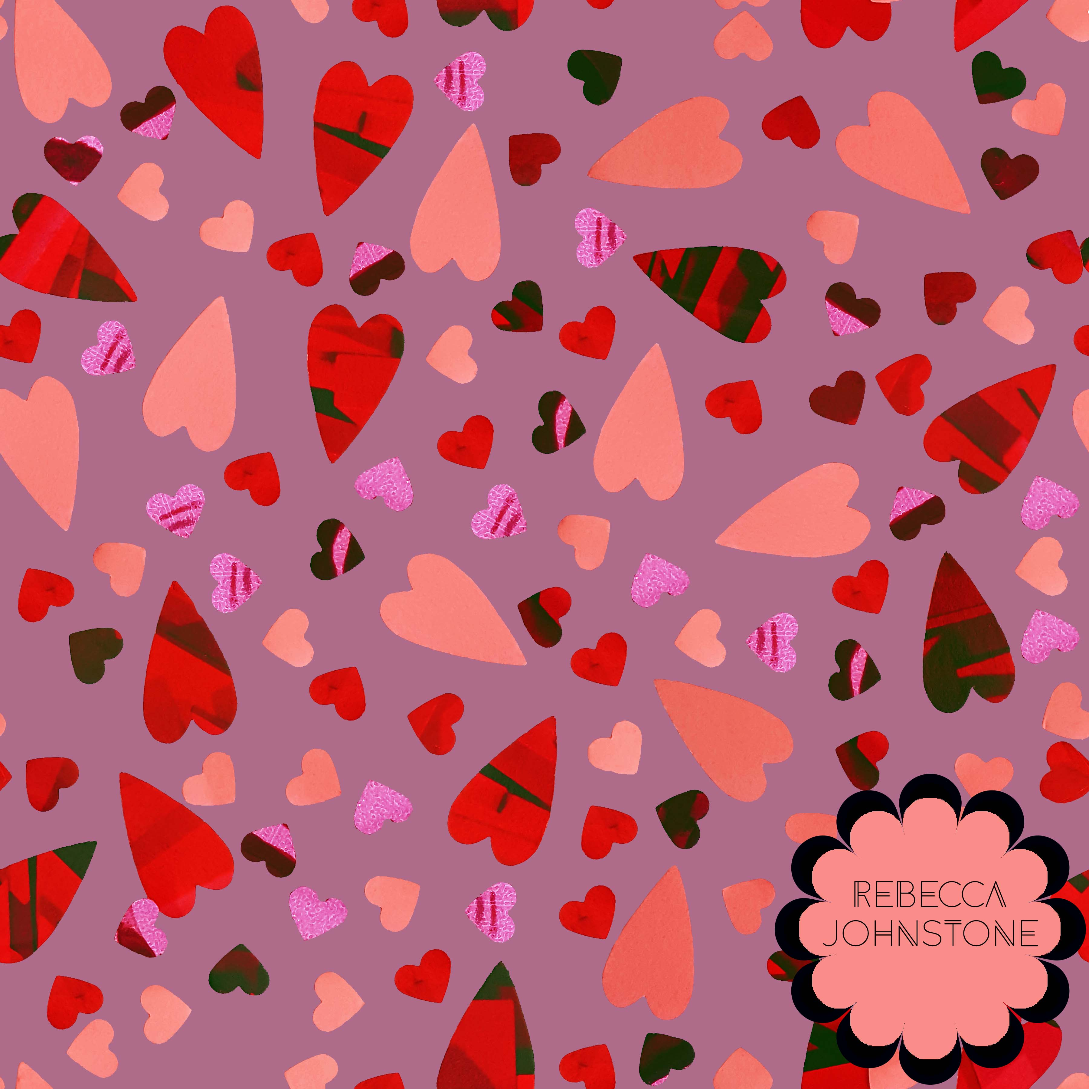 'Scattered Hearts' surface design pattern