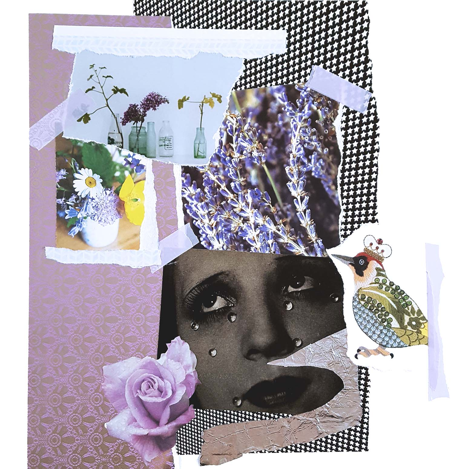 'PURPLE REIGN' colour-themed collage