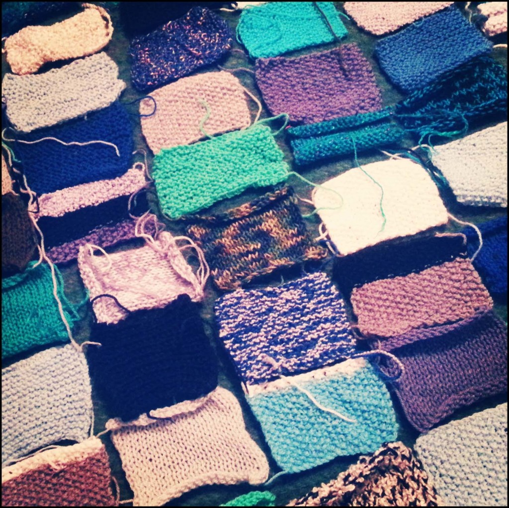Knitted squares for a blanket