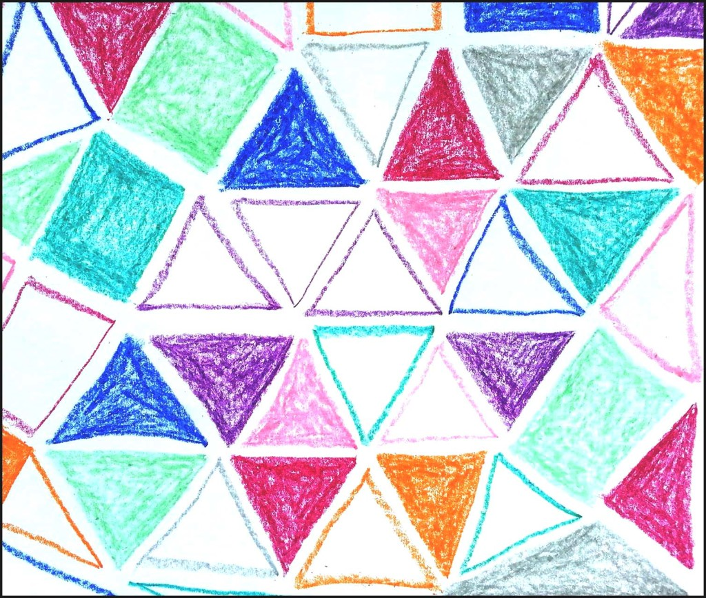 Vivid Triangles in Oil Pastels