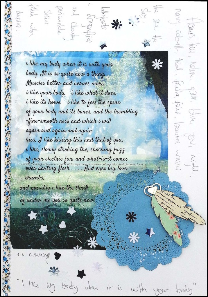 Art journaling using ee cummings poem
