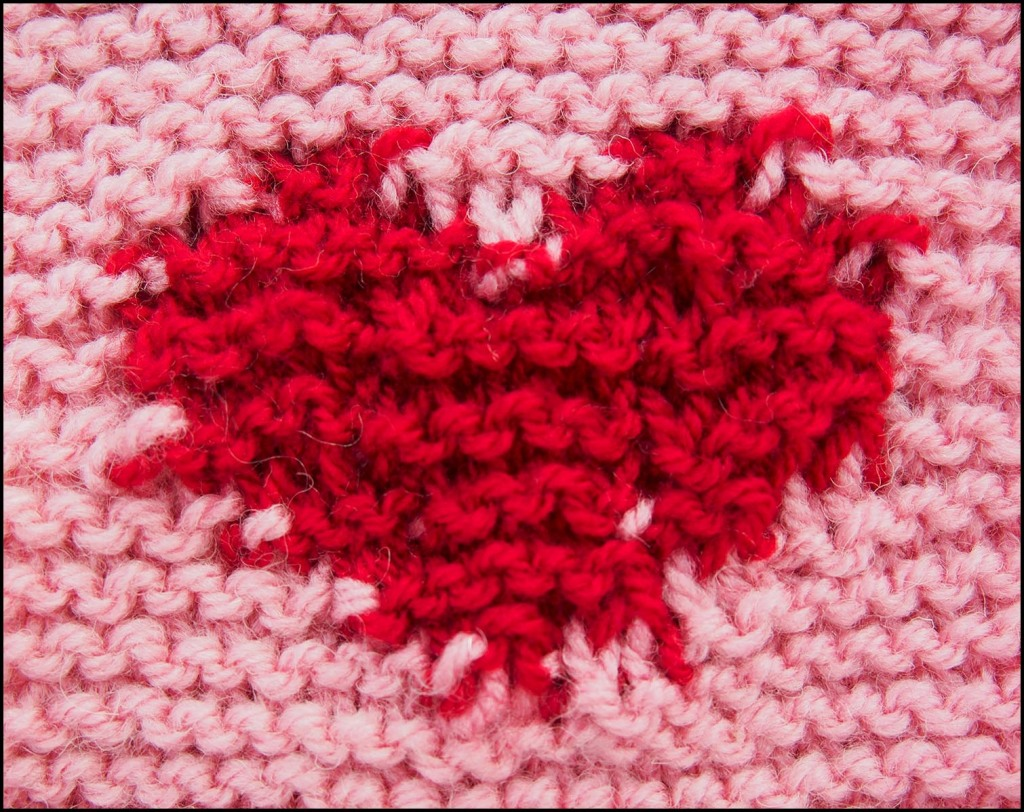 Knitted intarsia heart