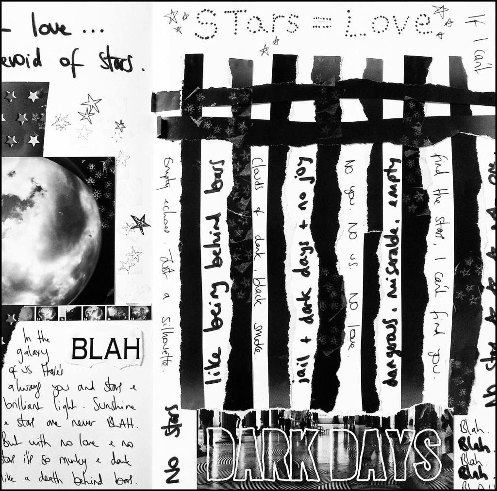 Dark Days Art Journal page