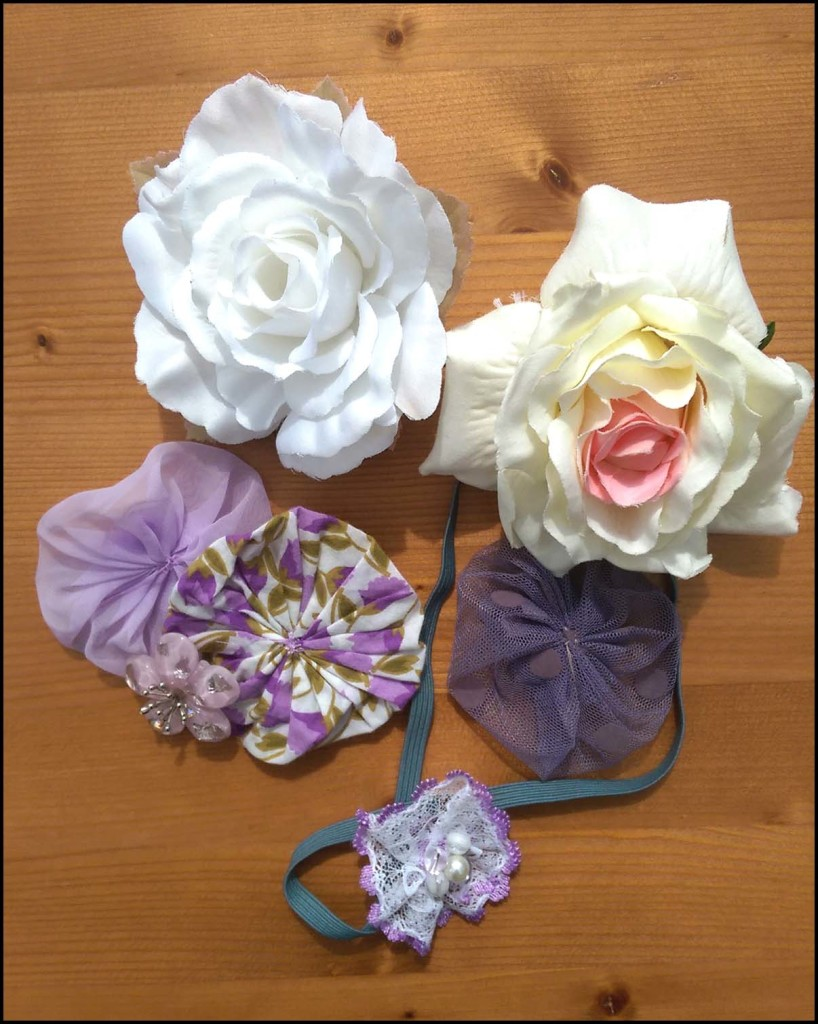 Fabrics flowers & elastic