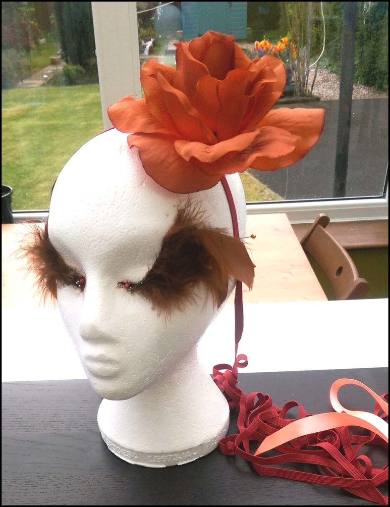 Orange Floral Hairband side view
